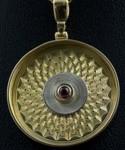 Rose Engine Design 18k Yellow & White Gold Pendant w/ Garnet Center