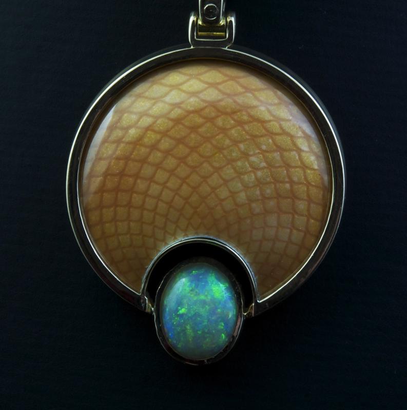 Enameled Rose Engine Design Pendant with Opal